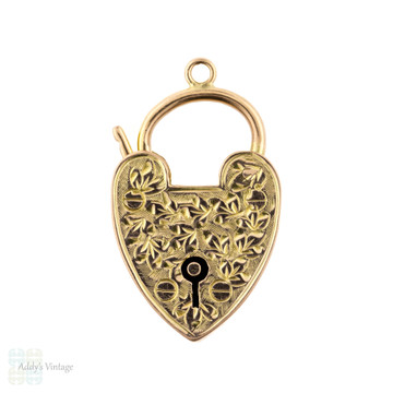Antique Large 9k Rose Gold Heart Clasp Pendant, Engraved 9ct Love Heart Lock Charm. Circa 1900.