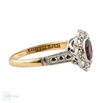 Garnet & Diamond Halo Engagement Ring, Vintage 1940s Floral Cluster. 18ct Gold & Platinum.