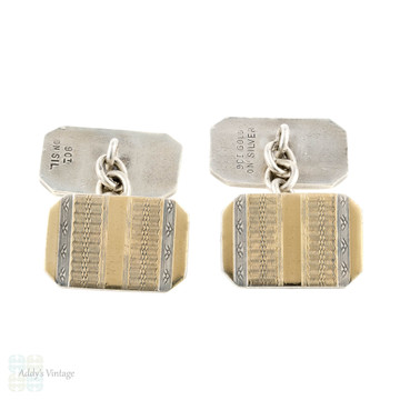 Art Deco Two Tone Cuff Links, Double Faced Silver & 9ct 9k Cufflinks. Circa 1940s.