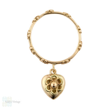 RESERVED Antique Heart Dangle Ring, Floral 9ct 9k Gold Band. Size P.5 / 8.