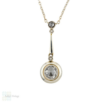 Rose Cut Diamond Pendant, Antique 15ct Yellow Gold Drop Necklace with 18k White Gold Chain.