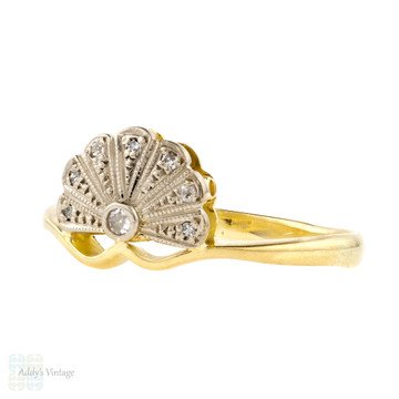 Vintage Fan Shaped Diamond Engagement Ring, Deco Style Flared Cluster Ring. 18ct Gold.