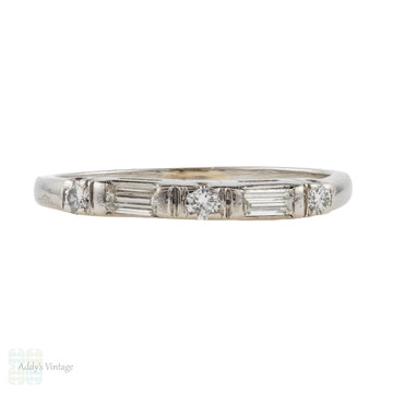 Art Deco Baguette & Round Diamond Wedding Ring, Platinum Alternating Five Stone Band.