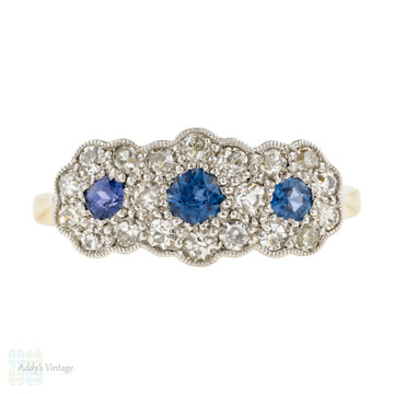 RESERVED Sapphire & Diamond Triple Flower Cluster Engagement Ring, Art Deco 1930s, 18ct Gold.