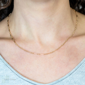 Vintage 9ct Gold Chain, Oval Shape Trombone Link 9k Necklace. 18 inches,  4.15 grams.