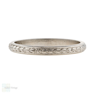 Antique Platinum Engraved Wedding Ring by Sheve & Co. Flower Pattern Ladies Band. Size J / 5.