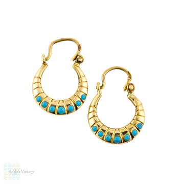 18k Reconstituted Turquoise Hoop Earrings, Vintage Creole 18ct Yellow Gold Earrings.