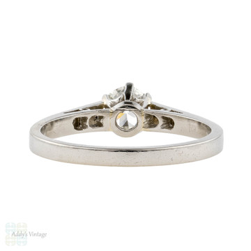 Platinum Old European Cut Diamond Engagement Ring, 0.45 ct Antique Single Stone Ring.