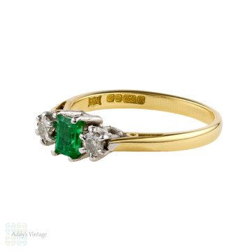 Emerald & Diamond Engagement Ring, Vintage Three Stone in 18ct 18k Yellow Gold.