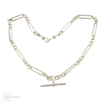 Edwardian Sterling Silver Oval Link Chain, Antique Long Trombone Link 17 inch Necklace.