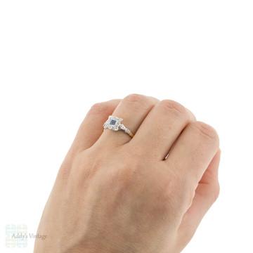 Sapphire & Diamond Art Deco Engagement Ring. 1930s Square Cluster Ring, 18ct & Platinum.