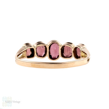 Garnet Five Stone Ring, 9ct 9k Rose Gold Half Hoop Band, Chester 1910s.