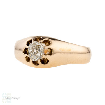 Antique 0.40 Old Mine Cut Diamond Gypsy Ring, 15ct 15k Gold Victorian Single Stone Ring.