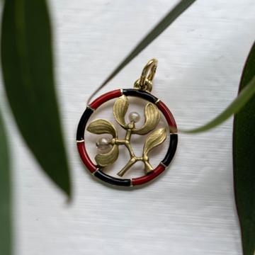 Vintage Mistletoe Pendant, 14ct Gold & Enamel with Seed Pearls.