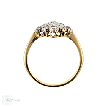 Old Cut Diamond Engagement Ring, Antique Square Cluster Ring, 18ct & Platinum.