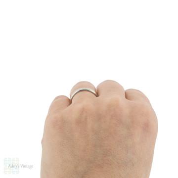 Heavy Ladies Platinum Wedding Band, Vintage Womens Stacking Ring. Size N.5 / 7.