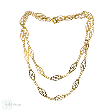 Vintage 9ct Gold Filigree Chain, 9k Mid Century Fancy Link Necklace. 51 cm / 20 inches.