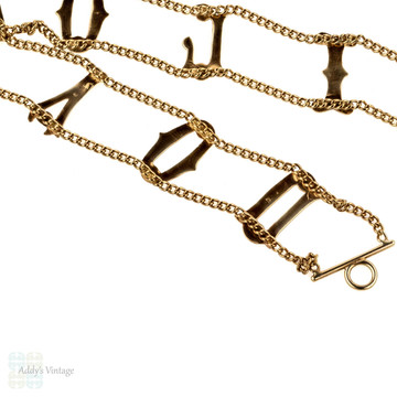 Vintage 9ct I LOVE YOU Gold Bracelet, Circa 1960s 9k Gold London Hallmarks.