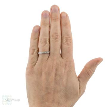 Rose Cut Diamond Wedding Band, Vintage 18ct 18k White Gold Half Hoop Eternity Ring.