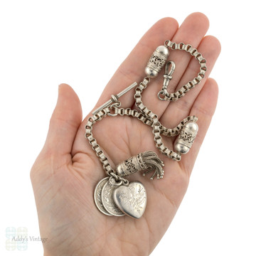 Victorian Sterling Silver Albertina Watch Chain with Antique Coins, Tassel and Butterfly Pendant.