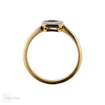 Art Deco Sapphire & Diamond Engagement Ring, Rectangle 1920s Ring, 18ct & Platinum.