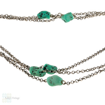 Turquoise Glass & Sterling Silver Station Necklace. Long Antique By the Yard Design Chain.