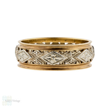 Flower Engraved Wedding Ring, Wide 1940s Two Tone 14K Gold Band. Size N / 6.75.