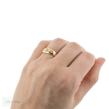 Gypsy Set Old European  Cut Diamond Three Stone Ring, Victorian 18ct 18k Gold.