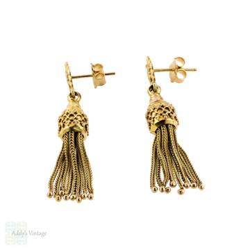 Victorian Tassel Earrings, 9ct 9k Yellow Gold Antique Dangle Earrings.