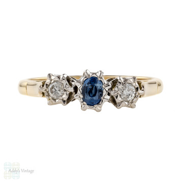 Sapphire & Diamond Engagement Ring, Vintage 3 Stone Rings 9ct 9k Gold.