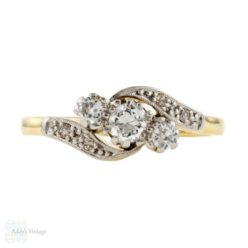 Old European Cut Diamond Engagement Ring, Vintage Art Deco Twist, 18ct & Platinum.