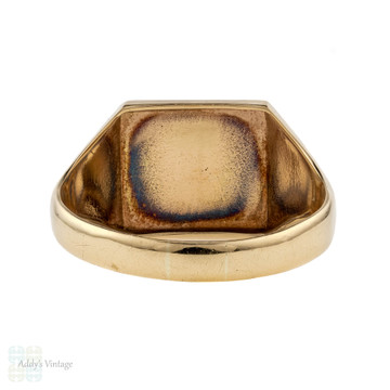 Vintage 9ct Signet Ring, Large Square Shape Engraved Men's Ring. 9k Yellow Gold, 1960s.