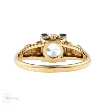 White Sapphire Ring Engagement Ring, 14k Two-Tone Gold 1940s Ring. Old European Cut.
