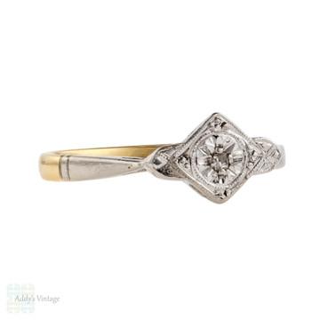 Art Deco Diamond Engagement Ring, 18ct Gold & Platinum Single Stone Engraved 1920s Ring.