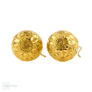 Engraved Antique 18ct Ball Earrings, 18k Yellow Gold Victorian Sunflower Drop Earrings.