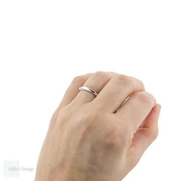 Platinum Knife Edge Wedding Ring, Vintage Ladies Band Size M / 6.25.