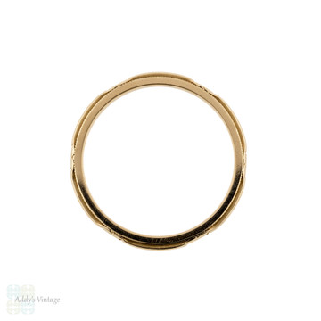 Floral Engraved Wedding Ring, Narrow Flower 14k Band by ArtCarved. Circa 1930s, Size N.5 / 7.