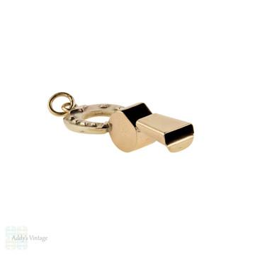 Horseshoe & Whistle 9ct Pendant, Antique 9k Gold Victorian Lucky Charm.