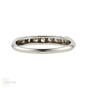 Platinum Art Deco Diamond Wedding Ring, Vintage Half Hoop Diamond Eternity Band. Circa 1930s.
