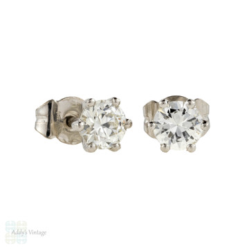 Old European Cut Diamond Stud Earrings, 0.88 ctw with GIA Certificates in Platinum Baskets.