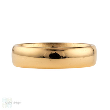 Antique 22ct Wedding Ring, Heavy Wide 1910s Art Deco 22k Band, Size P / 7.75.