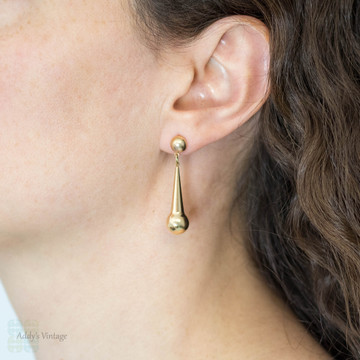 Vintage 9ct Gold Drop Earrings, Articulated Tapered Ball Dangle Earrings.
