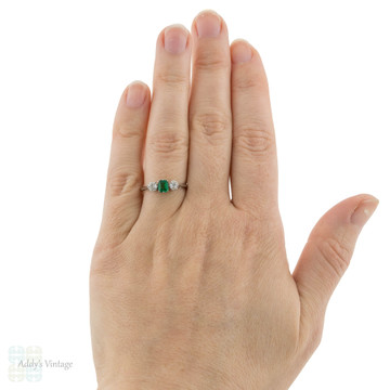 RESERVED Emerald & Old European Cut Diamond Engagement Ring, 1920s Platinum Three Stone Ring.