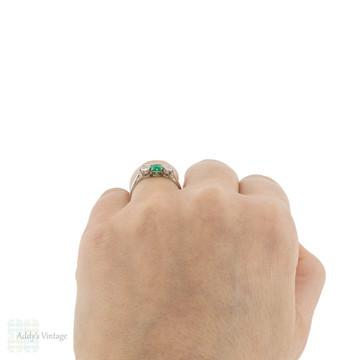 Emerald & Old European Cut Diamond Engagement Ring, 1920s Platinum Three Stone Ring.