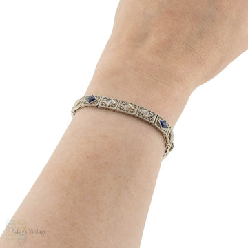 Diamond & Created Sapphire Filigree Vintage Bracelet, Art Deco 14k & Platinum Filigree Panels.