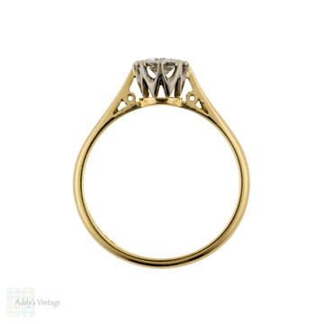 Diamond Engagement Ring, Vintage 0.24 ct Solitaire in 18ct 18k Yellow Gold.