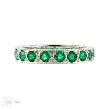 RESERVED Emerald 18ct Eternity Ring, Vintage Full Hoop 18k White Gold Wedding Band. Size L.5 / 6.