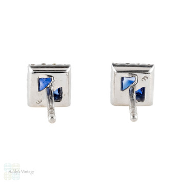 Blue Sapphire & Diamond Halo Stud Earrings, Square Gemstones 18ct 18k White Gold.