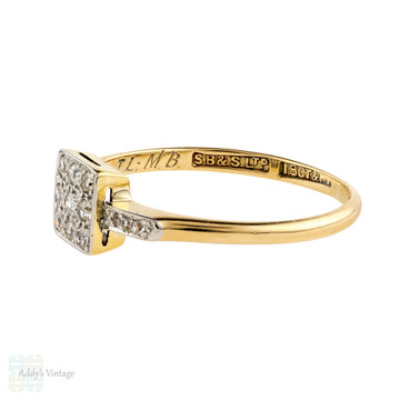 Square Art Deco Diamond Engagement Ring, Vintage 1920s Geometric Cluster. 18ct Gold & Platinum.