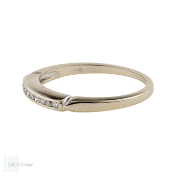 Vintage 14k White Gold Diamond Wedding Ring, Ten Stone Half Hoop Band.